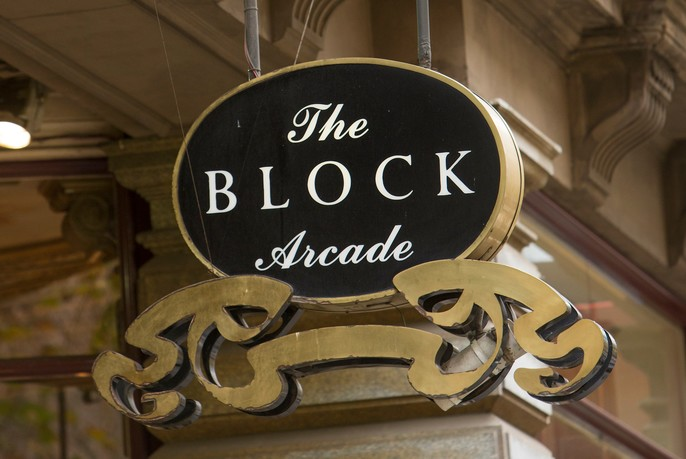 Ornate sign for The Block Arcade.