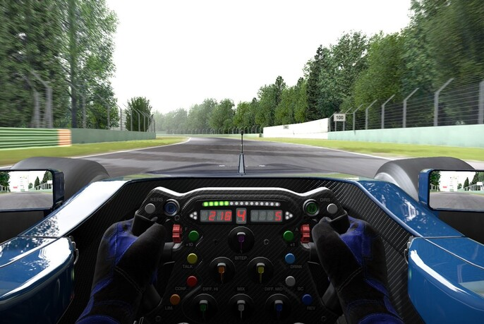 Simulated racing car driver visual reality experience.