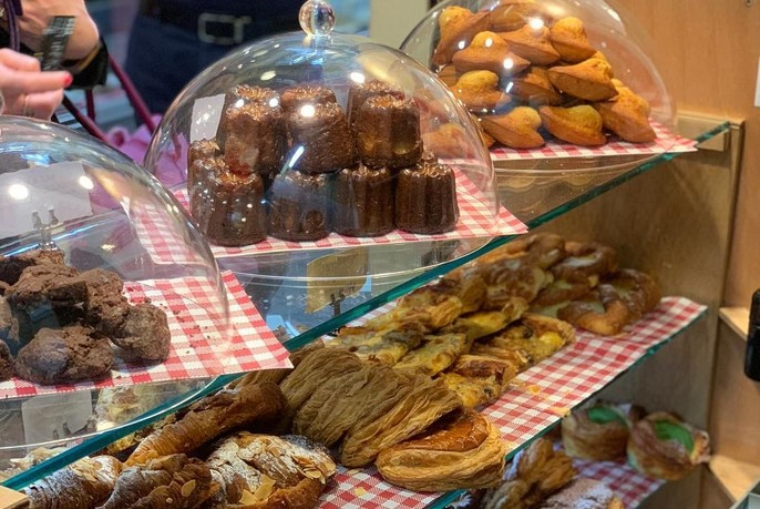 Selection of French cakes and pastries at Agathé Pâtisserie.