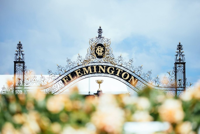 Historic gate and signage at Flemington Racecourse.