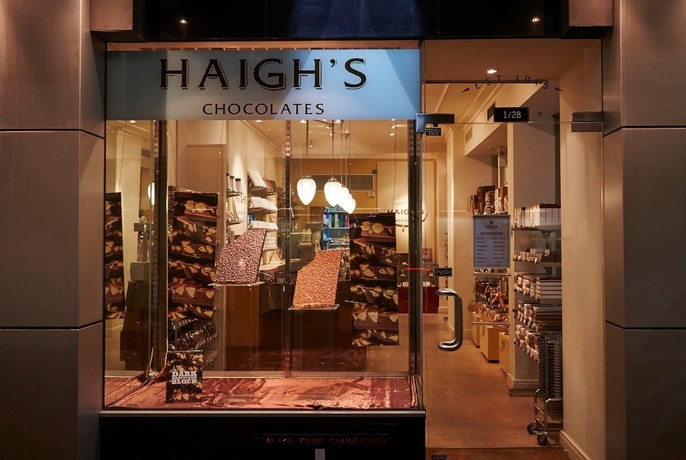 Outside of Haigh's store in Collins Street.
