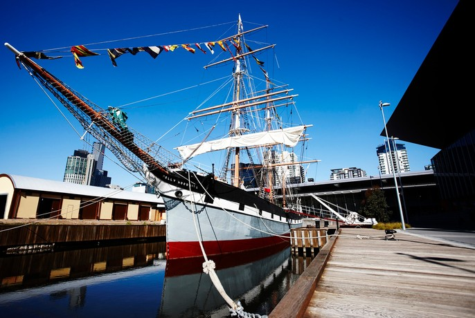 Polly Woodside sailing ship permanently moored at South Wharf.