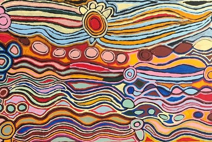 Aboriginal artwork at Red Desert Dreamings gallery.
