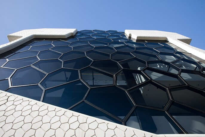 Close up of the honeycomb-patterned glass on the exterior of the Melbourne Recital Centre.