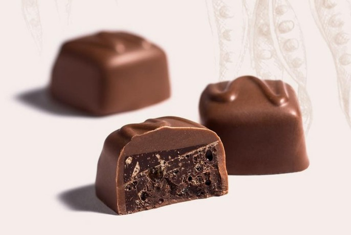 Three individual chocolates.