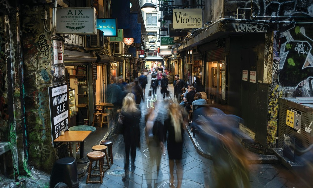 Centre Place is one of Melbourne's most famous arcades, featuring cafes, boutiques and street art.
