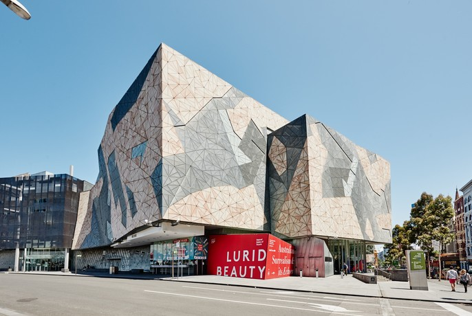 Large, rectangular building of Ian Potter Centre at Federation Square.