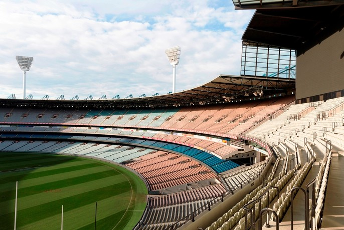 Melbourne Cricket Ground (MCG) tiered seating and pitch.