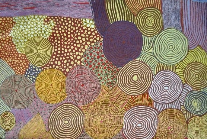 Aboriginal painting at Red Desert Dreamings gallery.
