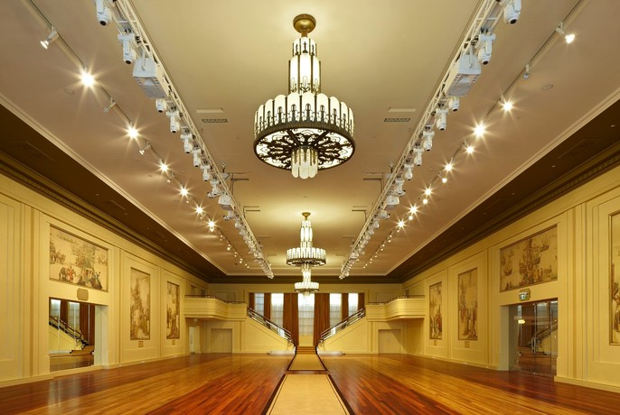 Heritage-listed Myer Mural Hall with art deco chandelier.