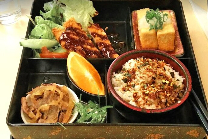 Japanese Bento box containing,rice, sliced meat, tofu and garnishes.